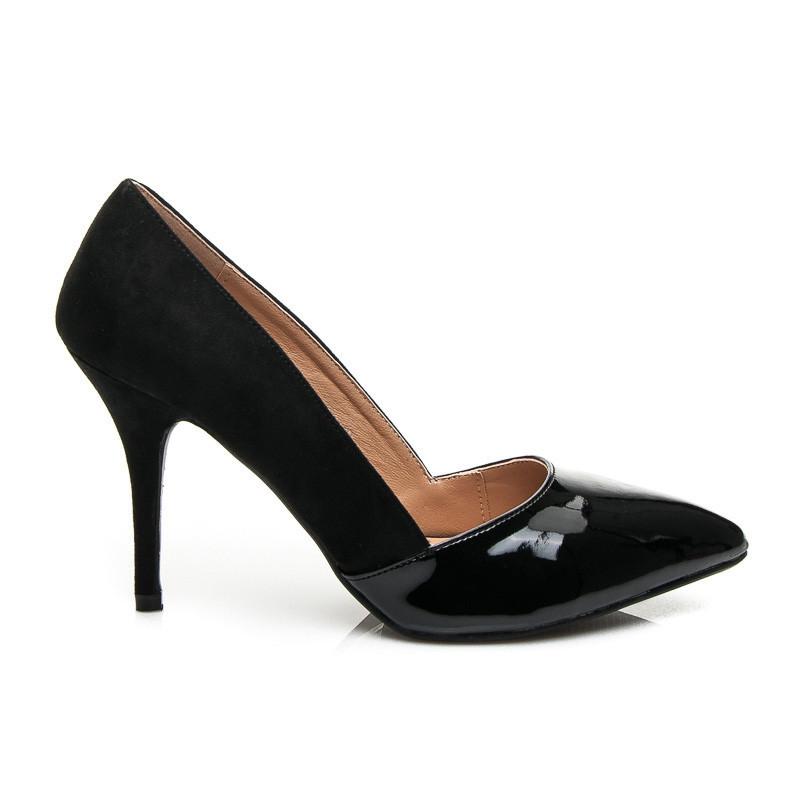 bf67b6b5461d Luxusné čierne lodičky s lakovanou špicou