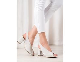 Praktické  sandály dámské šedo-stříbrné na širokém podpatku